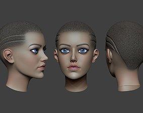 3D asset low-poly Woman Head