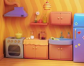 3D model realtime Cartoon Kitchen --- Room House