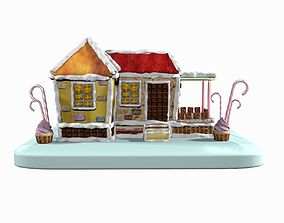 Sweet Candy Gingerbread House 3D model