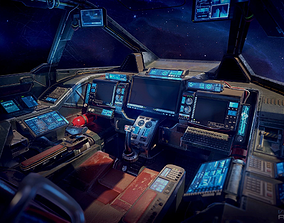 3D asset Scifi Heavy Fighter Cockpit