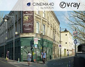 VRay - C4D Scene files - Old London Pub Exterior Scene 3D