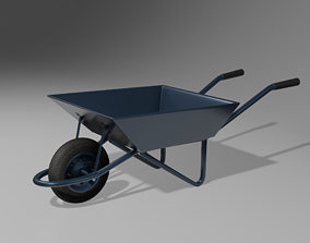 Wheelbarrow Pushcart 3D model realtime