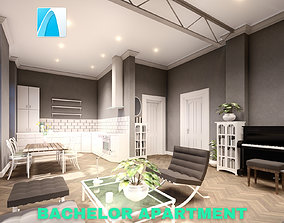 Bachelor Studio Apartment Scene - Archicad 3D model
