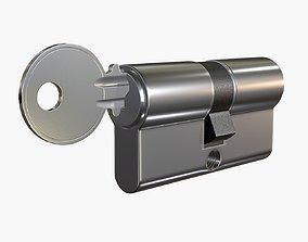 Euro Profile Cylinder Barrel Lock with key 3D model