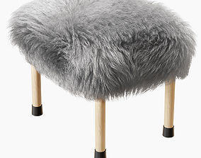 Nerys Sheepskin Footstool 3D