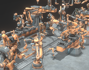 3D model animated Industrial Robot Pack