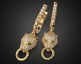 Panther gemstone earrings 3D printable model