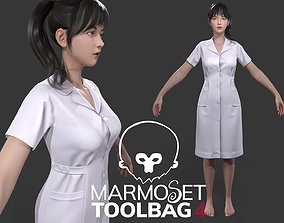 Beautiful surgical nurse Low-poly 3D model game-ready