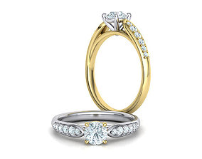 Engagement ring 4 prong design Half Carat stone 3dmodel