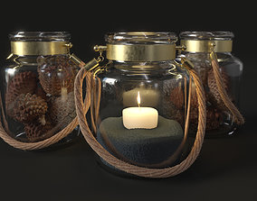 Candle Jar and Pinecones Low Poly 3D asset