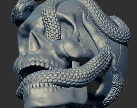 3D print model Skull with snakes