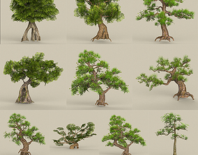 3D asset game-ready Low Poly 10 Tree Collection