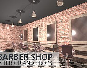 3D asset realtime Barber shop - interior and props