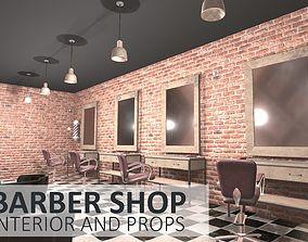 3D model realtime Barber shop - interior and props