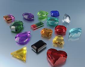 3D model low-poly Gem stones