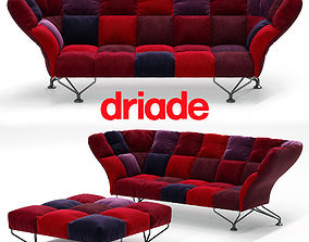 3D model 33 cuscini sofa by Driade with poof