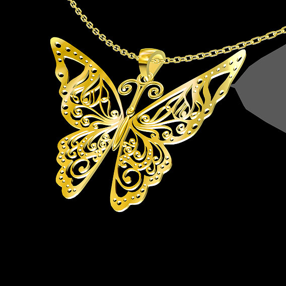 Special Butterfly Pendant jewelry Gold 3D print model