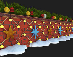 wall with christmas decorations 3D