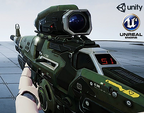 realtime Sci-Fi Assault Rifle - game model