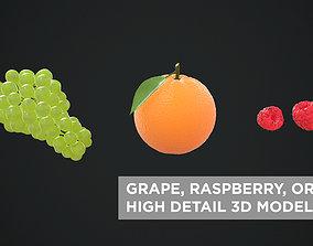 3D GRAPE - RASPBERRY - ORANGE HIGH DETAIL