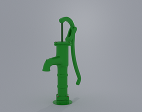 low-poly Cast Iron Hand Pump 3d Model