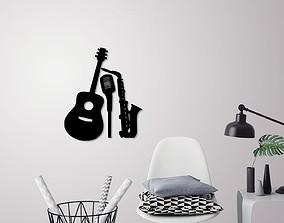 Music instruments wall decoration 3D print model