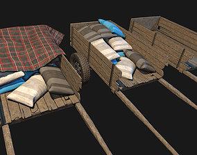 Low Poly PBR Wooden Cart Bundle 3D asset