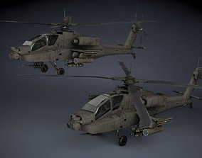 3D model low-poly AH-64A Apache