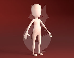 Low poly Stickman rigged 3D Model rigged