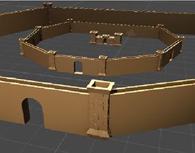 3D model Low-Poly Medieval Semi Castle Village Fortress