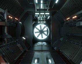 Sci-fi Corridor with monster fan - Spaceship Interior 3D