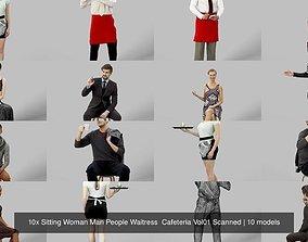 3D 10x Sitting Woman Man People Waitress Cafeteria Vol01 1