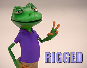 Frog cartoon character rigged 3D model low-poly