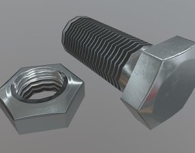 3D model VR / AR ready Nut and Bolt