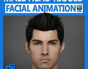3D Adult Male Head Rigged tongue