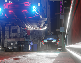 3D model Cyber car and Cyber City landscape and scene