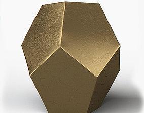 Crackled Gold Hexagonal Ceramic Stool 3D model