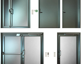 Metal fire doors 3D panic