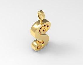 S Letter Pendant Gold 3D printable model