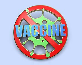 pin badge of a person vaccinated against 3D print model