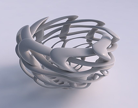 Bowl cylindrical with interlacing lattice 3D model 3