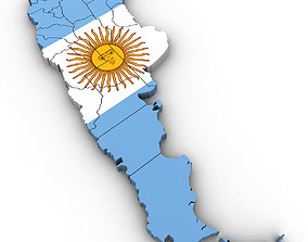 3d Political Map of Argentina spanish