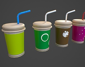VR / AR ready Low poly colorful drink cup asset