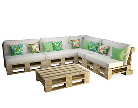 terrace 3D Wooden Pallets Table And Sofa