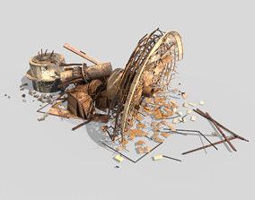 Broken Satellite Antenna Dish 3D