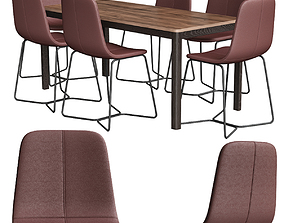 3D model Slope Leather Dining Chair west elm