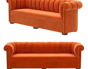3D model Custom made orange velvet sofa