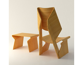polywood blending Chair 3D asset