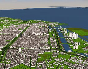 low-poly Buenos Aires City of Argentina 3d model 2020 July