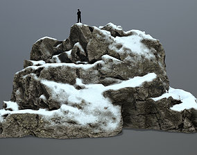 snow rocks 3D asset game-ready stone